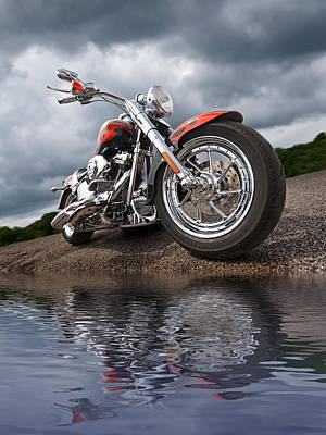 Photograph - Wet And Wild - Harley Screamin' Eagle Reflection by Gill Billington