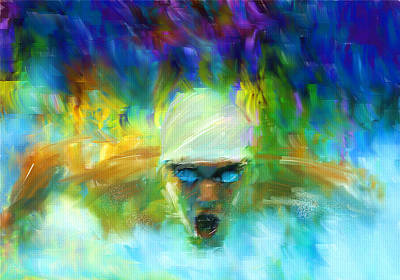 Swimmers Digital Art - Wet And Wild by Lourry Legarde