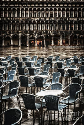 Snack Bar Photograph - Wet Cafe In Venice by Paul Woodford