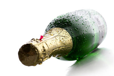 White Background Photograph - Wet Champagne Bottle by Johan Swanepoel