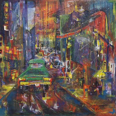 Painting - Wet China Lights by Leela Payne