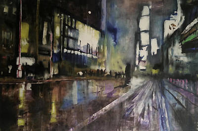 Nightlife Mixed Media - Wet City by Chris Torres