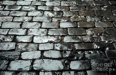 Wet Cobblestones On An Old Pavement Art Print by Bernard Jaubert