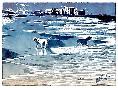 Dog Play Sea Painting - Wet Dog by Robert Salazar