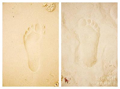 Wet Dry Footprints Art Print