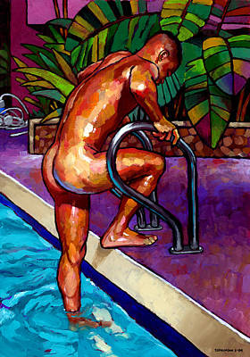 Swimmers Painting - Wet From The Pool by Douglas Simonson