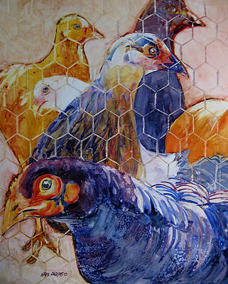 Cage Painting - Wet Hens by Kris Parins