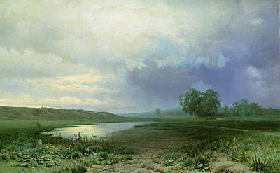 Field. Cloud Painting - Wet Meadow by Fedor Aleksandrovich Vasiliev