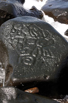 Photograph - Wet Petroglyphs Las Labrada by Rebecca Parker