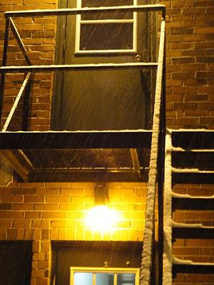 Photograph - Wet Snow On A Black Metal Balcony by Guy Ricketts