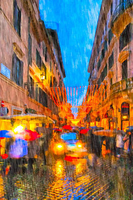 Photograph - Wet Winter Night On The Via Dei Condotti In Rome by Mark E Tisdale
