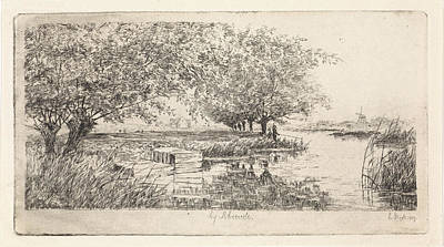 Stark Drawing - Wetering Near Abcoude, Elias Stark by Elias Stark