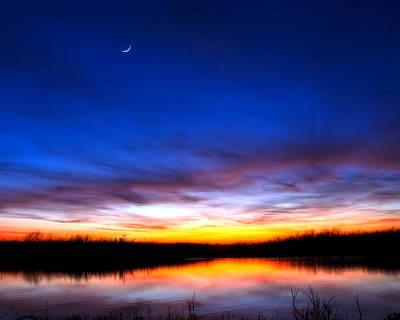 Moon Photograph - Wetlands Twilight by Mark Andrew Thomas