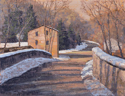 Snowscape Painting - Wetzel's Mill In Snow by Gary Huber