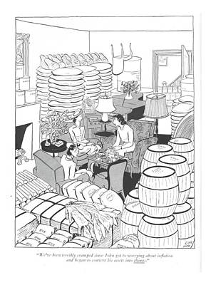Bushel Drawing - We've Been Terribly Cramped Since John Got by Carl Rose