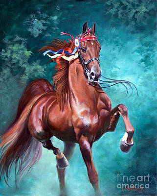 Equestrian Painting - Wgc Courageous Lord by Jeanne Newton Schoborg