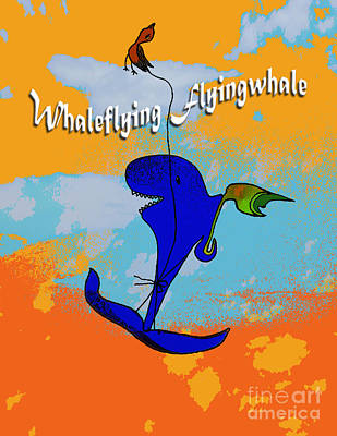 Digital Art - Whale Flying Flying Whale by Mukta Gupta