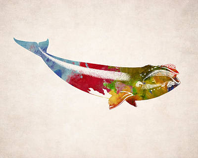 Whale Digital Art - Whale Illustration Design by World Art Prints And Designs