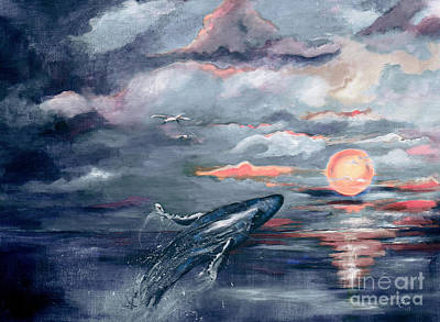 Whale Jumping Ocean Sunset Art Print