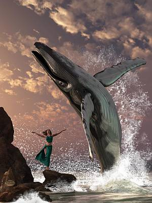 Aquatic Digital Art - Whale Watcher by Daniel Eskridge