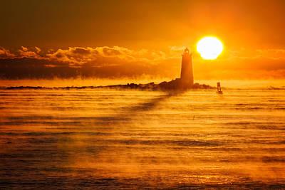 Photograph - Whaleback In The Sea Smoke by Jeff Sinon