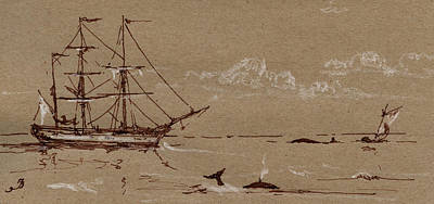 Ice Fishing Painting - Whaler Ship Frigate by Juan  Bosco