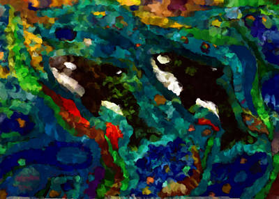Whales At Sea - Orcas - Abstract Ink Painting Art Print