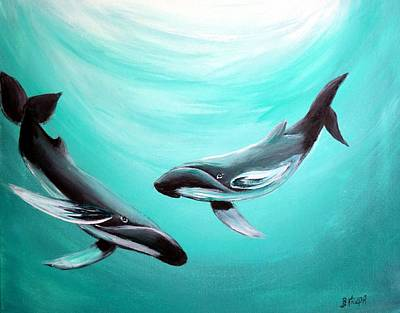 Art Print featuring the painting Whales by Bernadette Krupa