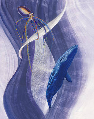 Animals Drawings - Whales Calling Song by Robin Aisha Landsong
