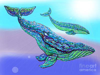 Animals Drawings - Whales by Nick Gustafson