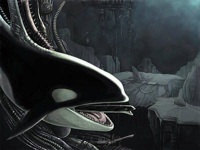 Hr.giger Painting - Whalien by Solange Henson