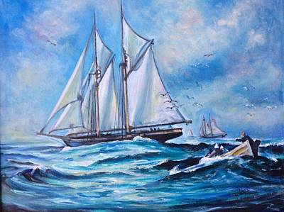 Painting - Whaling Tall Ships by Philip Corley