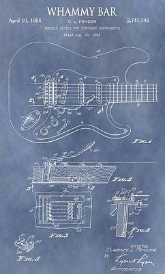 Music Mixed Media - Whammy Bar Patent by Dan Sproul