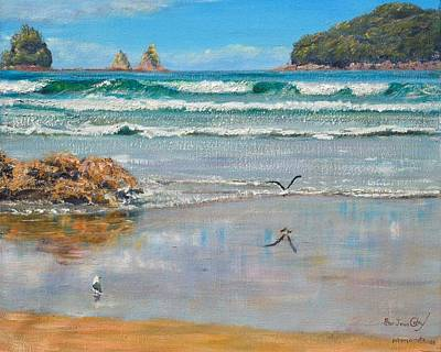 Whangamata Beach Art Print by Peter Jean Caley