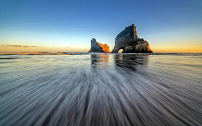 Arch Photograph - Wharaiki Beach by Hua Zhu