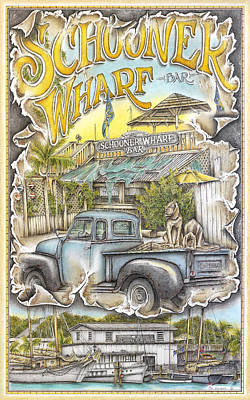 Key West Drawing - Wharf Dogs by Mike Williams