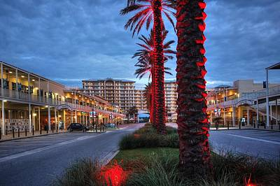 Art Print featuring the digital art Wharf Red Lighted Trees by Michael Thomas