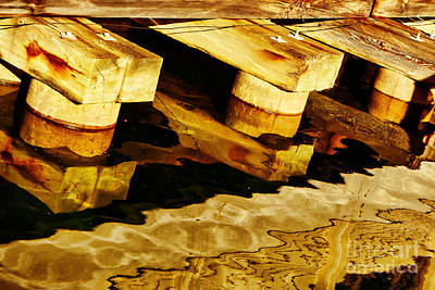 Brown Tones Photograph - Wharf Reflections In Brown by Nikolyn McDonald