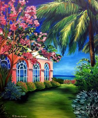 Painting - What A View - Barbados Royal Pavilion - Palm Restaurant by Shelia Kempf