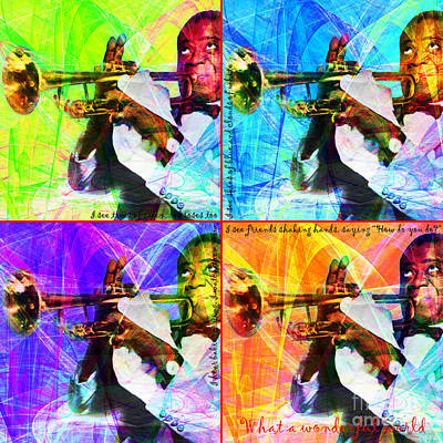 Trumpet Photograph - What A Wonderful World Louis Armstrong 20141218 Four by Wingsdomain Art and Photography