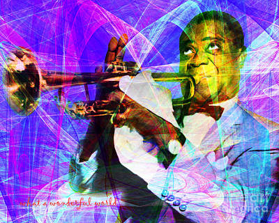Trumpet Digital Art - What A Wonderful World Louis Armstrong 20141218 With Text M128 by Wingsdomain Art and Photography