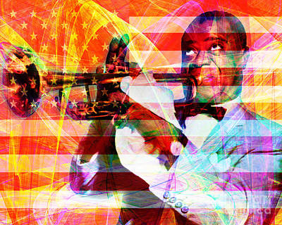 African-american Digital Art - What A Wonderful World Louis Armstrong With Flag 20141218 V1 by Wingsdomain Art and Photography