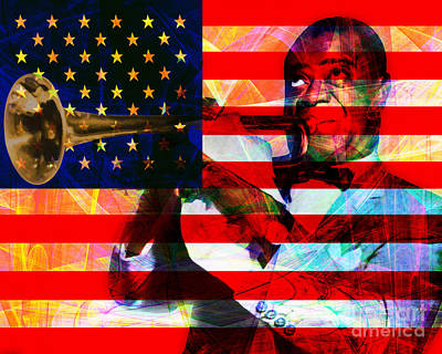 African-american Digital Art - What A Wonderful World Louis Armstrong With Flag 20141218 V2 by Wingsdomain Art and Photography