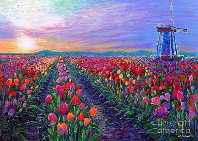 Red Sky Wall Art - Painting -  Tulip Fields, What Dreams May Come by Jane Small
