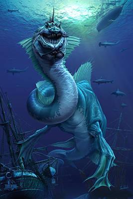 Underwater World Digital Art - What Dwells Below by Tom Wood