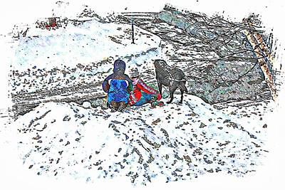 What Fascinates Children And Dogs -  Snow Day - Winter Print by Barbara Griffin