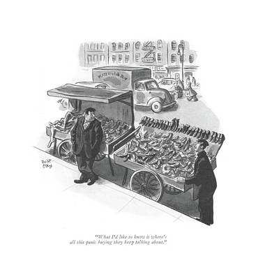 Storefront Drawing - What I'd Like To Know Is Where's All This Panic by Robert J. Day