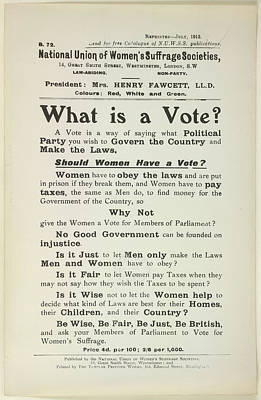 Of Women Photograph - What Is A Vote? by British Library