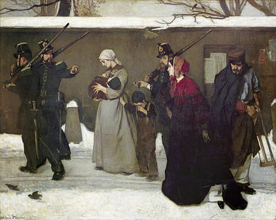 Vincennes Photograph - What Is Called Vagrancy Or, The Hunters Of Vincennes, 1854 Oil On Canvas by Alfred Emile Stevens