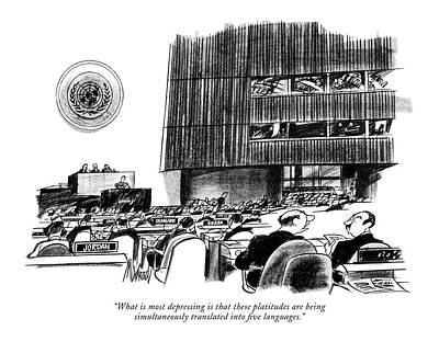 Representative Drawing - What Is Most Depressing Is That These Platitudes by Kenneth Mahood